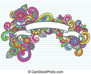 Psychedelic Banner / Scroll Hand Drawn Notebook Doodle Design Element on Lined Sketchbook Paper Background- Vector Illustration
