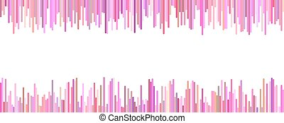 Banner template - horizontal vector graphic from vertical stripes in pink tones on white background