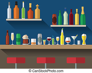 Bar counter with stools and alcohol drink on shelves flat vector illustration