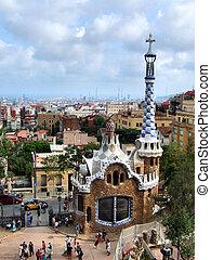 Barcelona landmark - Park Guell designed by famous architect Antonio Gaudi.