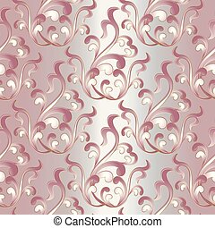 Baroque damask vintage seamless pattern. Light pink floral backg