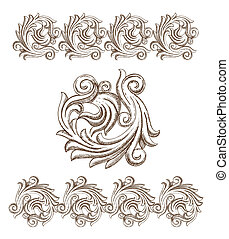 Baroque elements drawn by hand