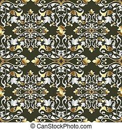 Baroque gold silver seamless pattern. Vintage floral damask back
