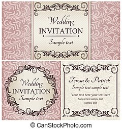 Baroque wedding invitation set, pink