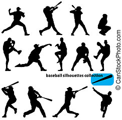 set of baseball player silhouettes with high detail
