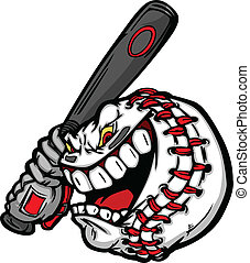 Cartoon Baseball Ball Face Holding Baseball Bat Illustration Vector