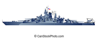 Military navy ships USS Tennessee. Vector art illustration