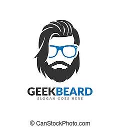 Beard geek logo design template, hipster glasses mustache