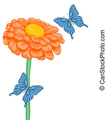 beautiful background with space for text with flower daisies and butterflies