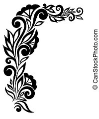 beautiful black-and-white lace flower in the corner. With space for your text and greetings.