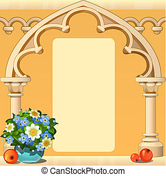 Beautiful cute greeting card with frame and space for your text, picture or photo, in the form of a stone arch decorated with fresh flowers. Vector cartoon close-up illustration.