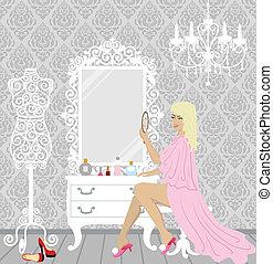 beautiful fashion woman in her boud