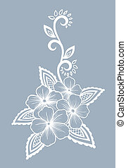 Beautiful floral element. Black-and-white flowers and leaves design element.