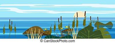 Beautiful landscape sea, lake, stones, reeds, flora, mountains. Vector illustration, trendy cartoon style, poster, banner