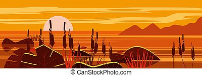 Beautiful landscape Sunset sea, lake, stones, reeds, flora, mountains. Vector illustration, trendy cartoon style, poster, banner