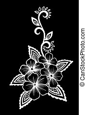 beautiful monochrome black and white lace flower in the corner. With space for your text