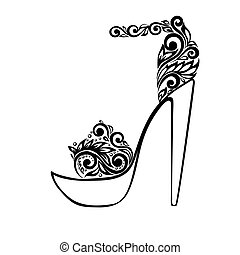 Beautiful sandals, decorated with black and white floral ornament. Many similarities to the author's profile