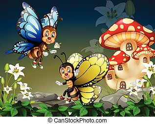 Beautiful Two Butterflies in Tropical Forest With White Flowers and Mushroom House Cartoon