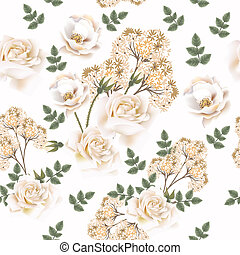 Beautiful vector flower pattern with roses