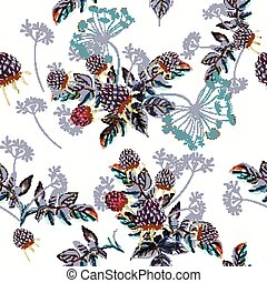 Beautiful vector flower pattern with watercolor berries