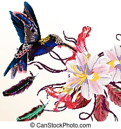 Beautiful vector illustration with hummingbirds hyacinth and hibiscus flowers