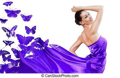 beautiful young woman in purple long dress