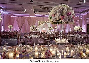 Image of a beautifully decorated wedding ballroom