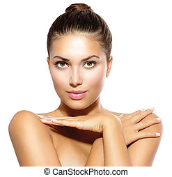Beauty Model Girl Looking at Camera. Skin Care Concept
