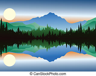 silhouette of pine forest and lake