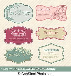 Beauty vintage labels background