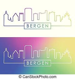 Bergen city skyline. Colorful linear style.