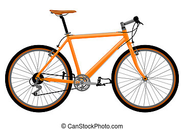 Realistic, detailed bicycle illustration on white background.