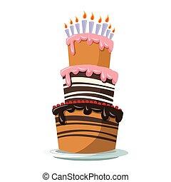 big birthday cake icon, colorful design