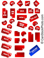 Big collection of vector sticky price labels for marketing and advertisement. Easy to edit, any size. Aqua web 2.0, grunge, retro. Perfect for your own text and design.