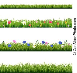Big Set Green Grass And Spring Flowers Borders