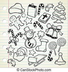 Big set of christmas doodle