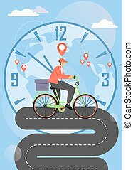 Bike food delivery service vector poster template