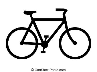 Illustration of a black bicycle on a white background