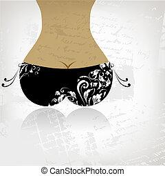 Bikini bottom on grunge background, view back