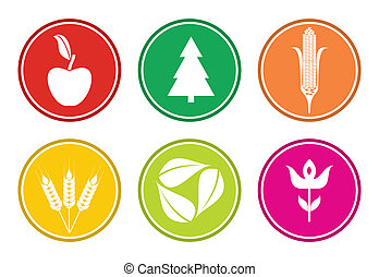 Biodiverity, abstract nature sign set, three, leaf, flower, fruit, vegetable