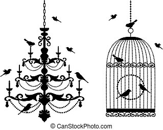 vintage birdcage and crystal chandelier with birds, vector background