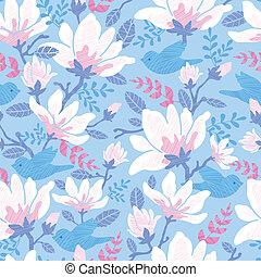 Birds among blossoms seamless pattern background