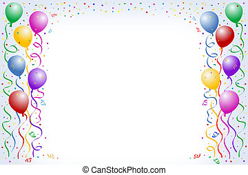 Multicolored balloon borders on blue backgrounds