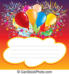 Card with balloons and text area-vector