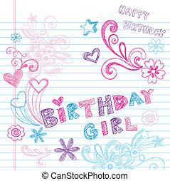 Birthday Sketchy Doodles Vector Set