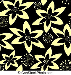 Black and white abstract seamless floral pattern (vector)