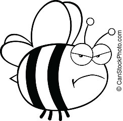 Black and White Angry Bee