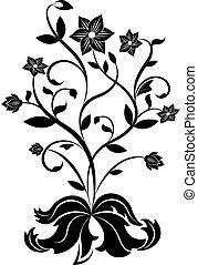 Black and white flower design element.