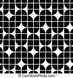Black and white geometric abstract seamless pattern, contrast regular background.