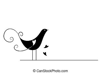 Black and White Series: Bird with Clipping Path